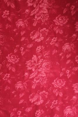 Curtain Fabric Antique French red floral material circa 1880 faded rose pattern