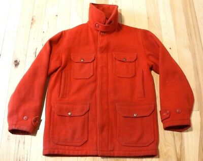 f6207e2b2413e Vintage 1950's Red WOOLRICH Mackinaw 100% Wool Hunting Jacket Mens Sz Med