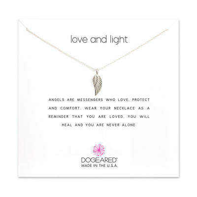 "Dogeared Love and Light Guardian Angel Wing Sterling 16"" -18"" Boxed Necklace"