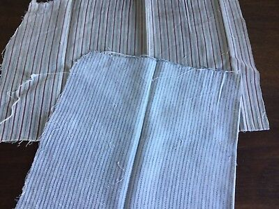 C.1900.  Two pieces woven cotton for projects.  Thin stripes.