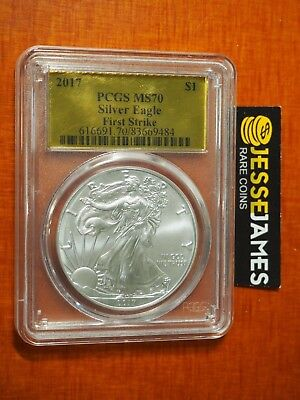 2017 Silver Eagle Pcgs Ms70 First Strike Gold Foil Label