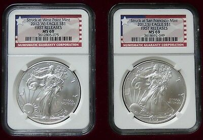 2012(W) & 2012(S) American Silver Eagle First Releases NGC MS69 - bnr