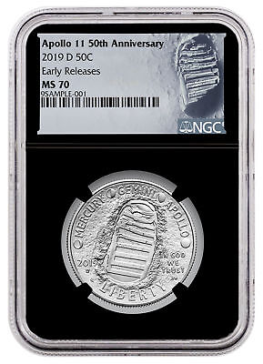 2019 D Apollo 11 50th Commem Clad Half Dollar NGC MS70 ER Black Core SKU57112
