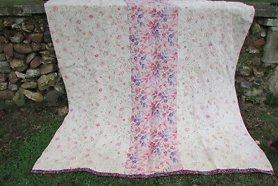 Beautiful Antique French Faded Florals Petit Flower Sprigs Boutis Quilt c1900s