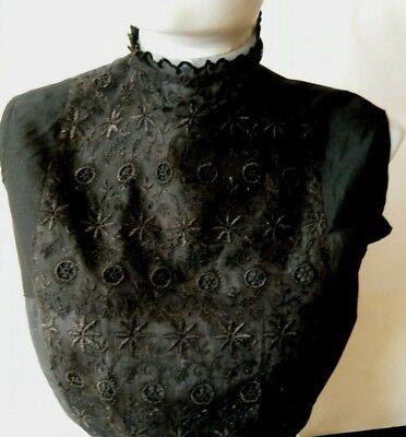 19c Edwardian time black Camisole Corset top piece hand made sateen & silk lace