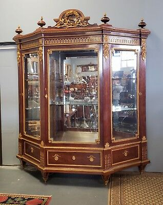 Important French Louis XVI Style Guillaume Grohe Gilt Bronze Mahogany Armoire