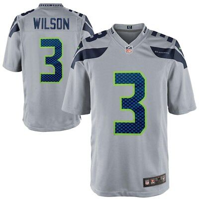Seattle Seahawks - Russell Wilson  3 Nike Men s Gray Game NFL Player Jersey  QB b20bcaae2