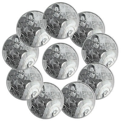 Lot of 10 2019 Tuvalu Captain America 1 oz Silver Marvel $1 BU SKU56981