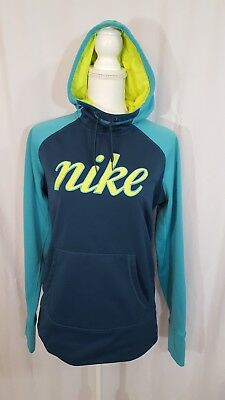 03a6d2a28258 Nike Women s Therma-Fit Hoodie Teal Green Yellow Blue Hooded Sweatshirt  Medium