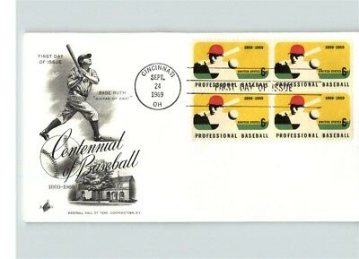 Professional BASEBALL, 1969 First Day of Issue, BL/4, pic Baseball Hall of Fame