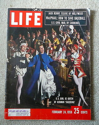 LIFE MAGAZINE - FEBRUARY 24 1958 - US GIRL QUEEN of GERMAN FASCHING - JACK BENNY