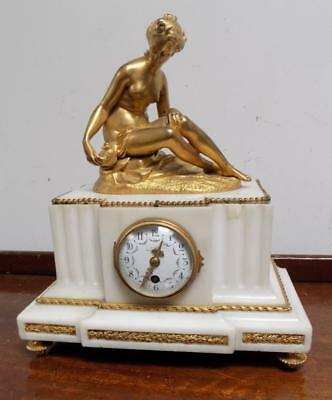 victorian french white marble mantel clock,with gilt bronze mounts and figurine