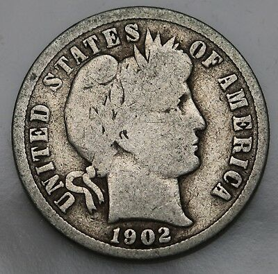 1902 P US Barber Dime Silver Coin  KM# 113