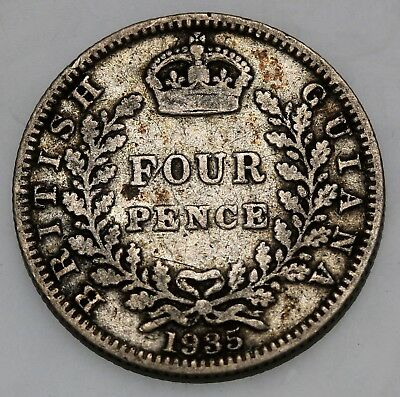 1935  British Guiana Guyana 4 Pence Silver George V Fourpence  KM# 29 36k Mntd