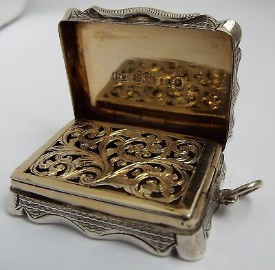 Beautiful Large English Antique Victorian 1876 Solid Sterling Silver Vinaigrette