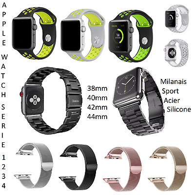 Bracelet Silicone Sport Maille Milanais Acier Apple Watch 4 3 2 1 38 40 42 44 mm