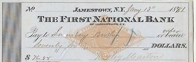 FIRST NATIONAL BANK of JAMESTOWN, NY 1881    REVENUE STAMP PRINTED ON CHECK