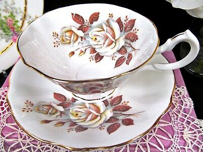 QUEEN ANNE tea cup and saucer wide avon shape white rose pattern teacup set