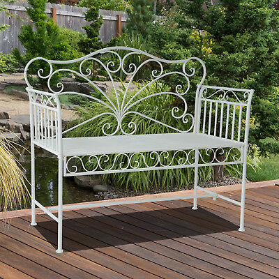 Outsunny Garden 2 Seater Metal Bench Park Chair Outdoor Rustic Vintage Loveseat