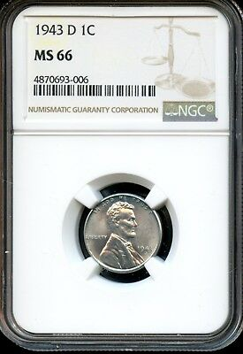 1943 D 1C Ngc Ms 66 (Mint State 66) Steel Lincoln Wheat Cent Ow513