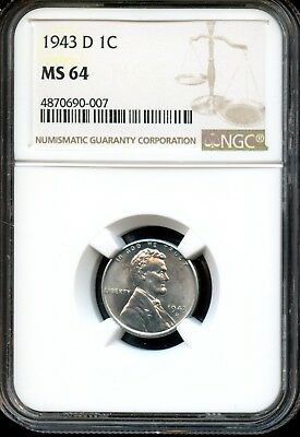 1943 D 1C Ngc Ms 64 (Mint State 64) Steel Lincoln Wheat Cent Ow516