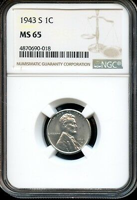 1943 S 1C Ngc Ms 65 (Mint State 65) Steel Lincoln Wheat Cent Ow532