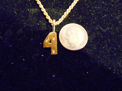 bling gold plated game fashion jewelry number 4 pendant charm hip hop necklace