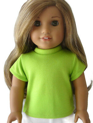 """Lime Green T-Shirt Top for 18"""" American Girl Doll Clothes"""