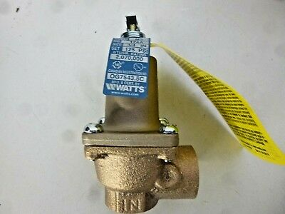 New!! Watts, Asme Water Pressure Relief Valve, 3/4 174A 125