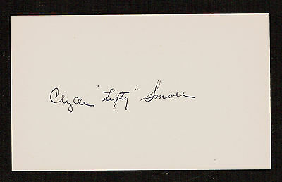 Clyde Lefty Smoll (d. 1985) signed autograph Baseball 3x5 Index Card 7106-03
