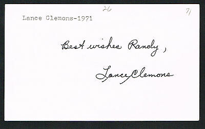 Lance Clemons (d. 2008) signed autograph 3x5 index card Baseball Player H1964