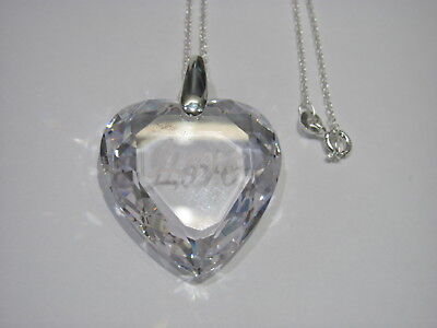 12978 OLD PAWN Sterling Silver Clear Heart Crystal Love Charm Necklace