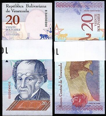 Venezuela 20 Bolivares SOBERANO, 2018,UNC, BUNDLE Pack 100 Pcs,Consecutive,P-New