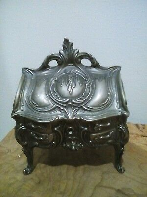 antique silver plated jewelery casket