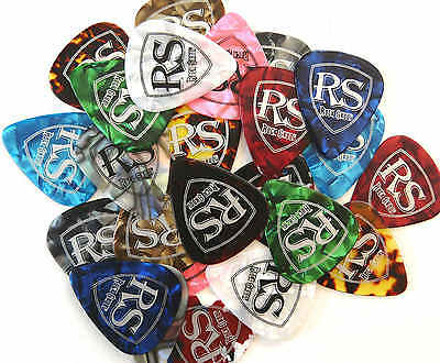 100 x bulk pack ROCKSKOOL PLECTRUMS PICKS in asst colours electric acoustic