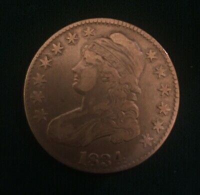1834 Capped Bust Half Dollar, VF, Large Date - 50c Silver