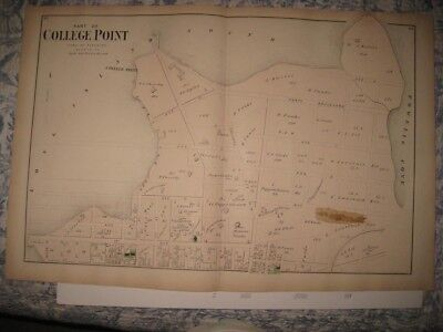 Set 2 Vintage Antique 1873 College Point Flushing Queens New York Handcolor Map