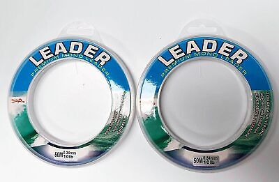 2 x Spools of 50m Various Sizes Premium Monofilament Fishing Leader Line Tackle