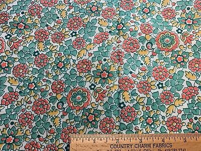 Vintage Cotton Fabric 30s40s SWEET Green Orange Yellow Floral 35w 1yd