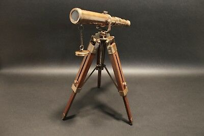 Vintage Antique Style Solid Brass Telescope & Wood Tripod
