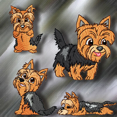 Cute Baby Yorkies  10 Machine Embroidery Designs Cd 2 Sizes Included