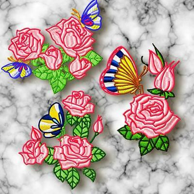 ROSES and BUTTERFLIES 10 MACHINE EMBROIDERY DESIGNS CD 2 SIZES INCLUDED
