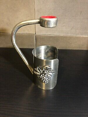 Vintage Silver Plated Wine Holder Pourer Drip Collar Grape Design