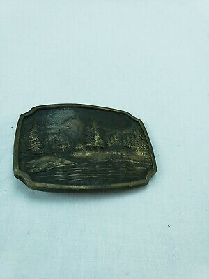 Vintage Bts Solid Brass Belt Buckle Scenic Trees & Mountains Made In Usa #450