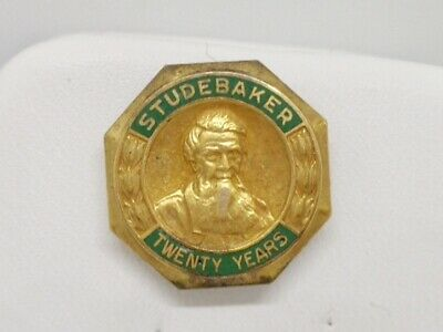 Antique 10K Yellow Gold Studebaker 20 Year Enamel Service Frat Pin