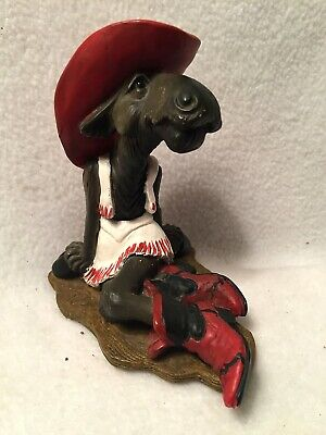 Mountain Mooses Cowgirl w/ Red Boots Cowboy Hat by Phyllis Driscoll 1996