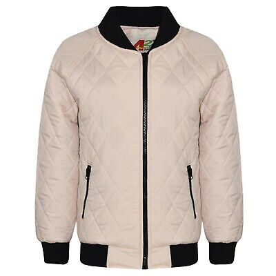 Kids Girls Jackets Nude Bomber Padded Quilted Zip Up Biker Jacket Coats 5-13 Yrs