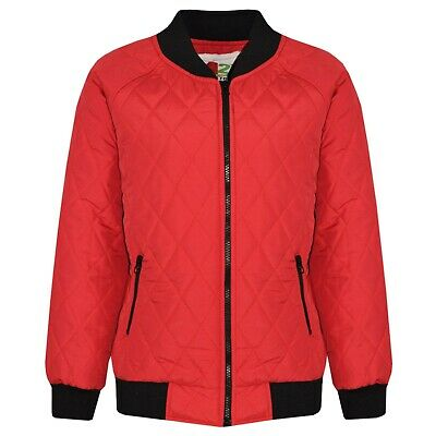 Kids Girls Jackets Red Bomber Padded Quilted Zip Up Biker Jacket Coat 5-13 Years
