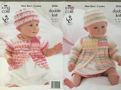 2d4ca6794 BABY KNITTING PATTERN Baby s Striped Jumpers   Hats DK King Cole ...