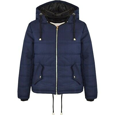 Kids Girls Navy Jacket Cropped Padded Puffer Bubble Hooded Warm Coats 5-13 Years